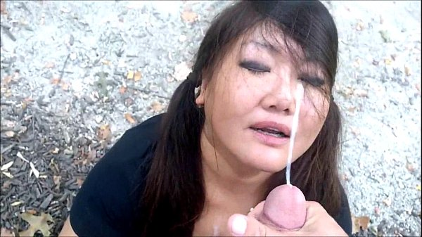 asian doll gets a facial in the park amateur asian