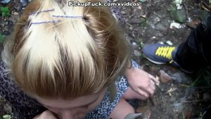 teen blonde blows a long snake on the street amateur blonde