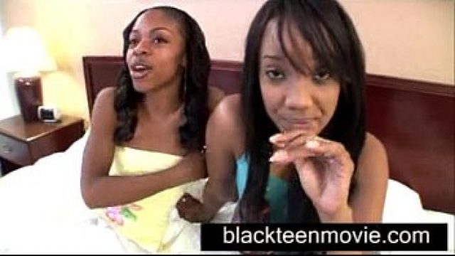 Amateur Ebony two mulatto teenages share white boy in black
